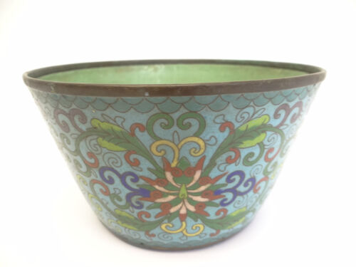 Antique Old Cloisonné Blue Yellow Green Flower Planter Bowl Pot Chinese China