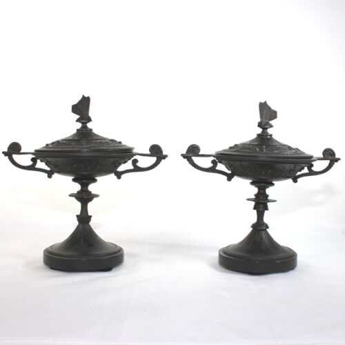 Pair of antique French Napoleon III bronze tazza, urns with butterfly lid