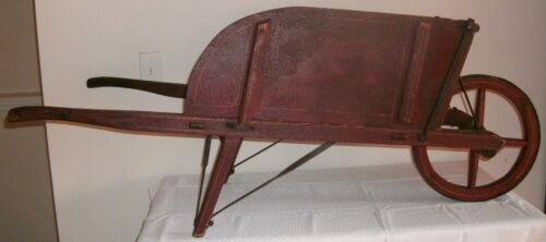 19th C PAINT DECORATED WOODEN WHEELBARROW ORIGINAL RED W/ MUSTARD TRIM AAFA NR!