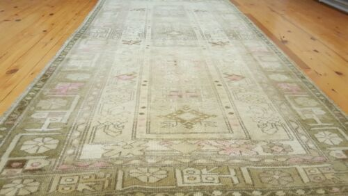 Decorative Hand-Knotted Antique1900-1939s Muted Dyes 4x7ft Wool Pile Ushak Rug