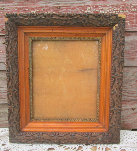 Antique Wood  Gesso 3 tier Picture Frame Ornate