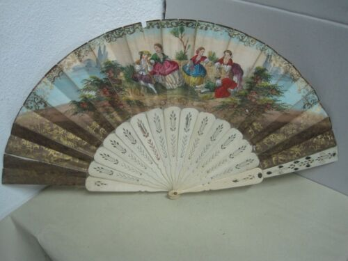19 th century Fan with romantic couples