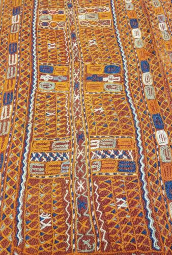Beautiful Henna Dyed 5x7ft Antique 1930-1940s Embroidered Cicim Kilim
