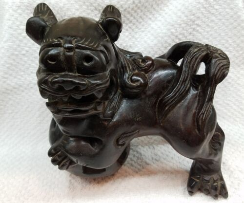 ANTIQUE CHINESE ASIAN FOO DOG, LION, HAND CARVED WOOD, BALL WITHIN BALL & MOUTH
