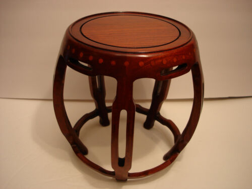 """6 1/4"""" D VINTAGE CHINESE ROSEWOOD CARVED WOODEN STAND"""