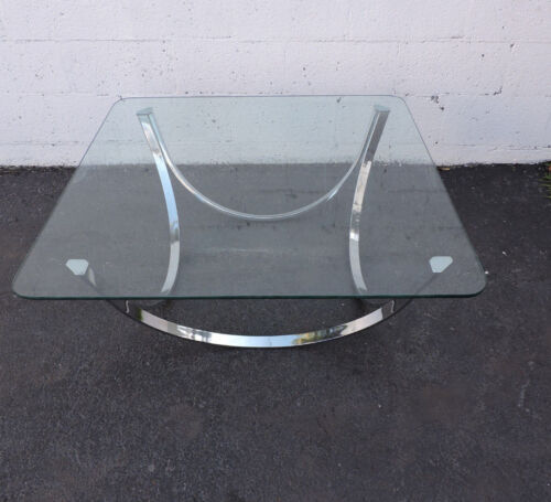 Mid-Century Chrome Glass-Top Coffee Table 7599