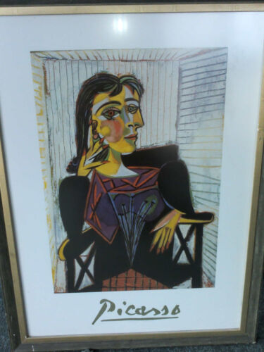 Picasso - Lady Sitting in a Chair - Framed under glass - Rare Print NR