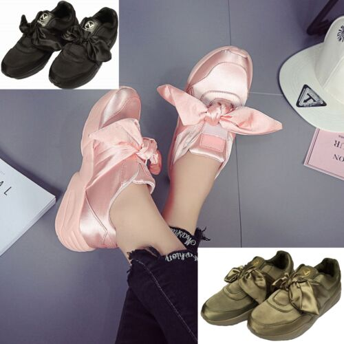 LADIES WOMEN TRAINERS GYM FITNESS P.E RUNNING JOGGING FENTY BOW SHOES SIZE 3-8