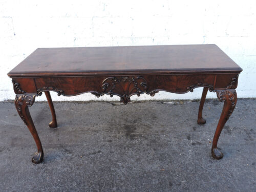 Early 1900's Chippendale Ball and Claw Feet Dining Console Library Table 8122