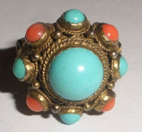 Fine Antique Chinese turquoise coral silver filigree ring adjustable
