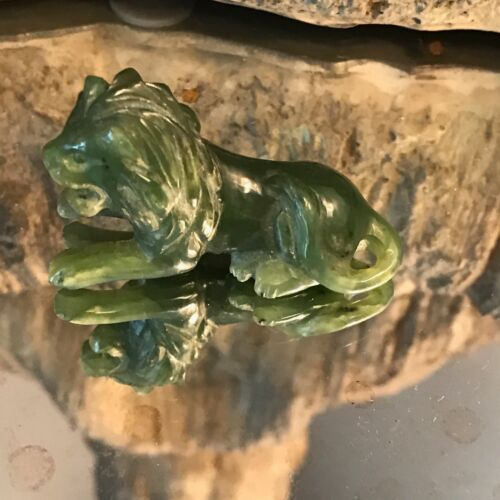 Antique Chinese Export Spinach Green Jade Carved Miniature Lion cat Sculpture NR