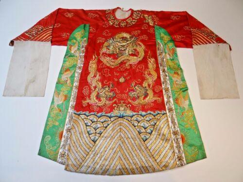 20th C. Republic Period Chinese Silk Embroidered Dragon Theater/Opera Robe