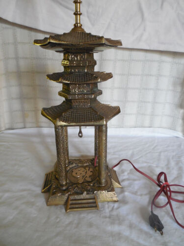 Vintage solid brass Asian Pagoda table lamp 1960's RARE unique piece!