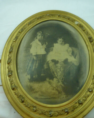 Antique Victorian Gold Gild Wood Oval Picture Frame Art Deco Style