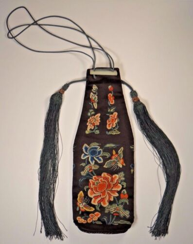 19th C. Qing Ching Dynasty Chinese Silk Embroidered Lady's Lotus Blossom Bag