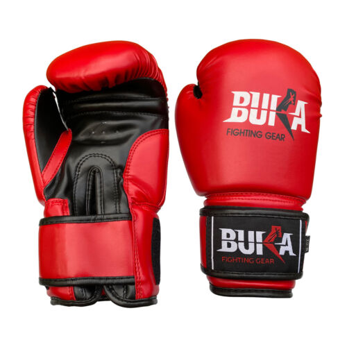 BUKA WEIGHT LIFTING GYM GLOVES BODY BUILDING WORKOUT SHEEPSKIN LEATHER NEW RED