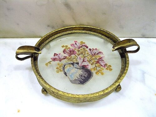 ATQ RARE BRASS EMBOSSED ASHTRAY HAND EMBROIDERED PETIT POINT INSERTED IN GLASS