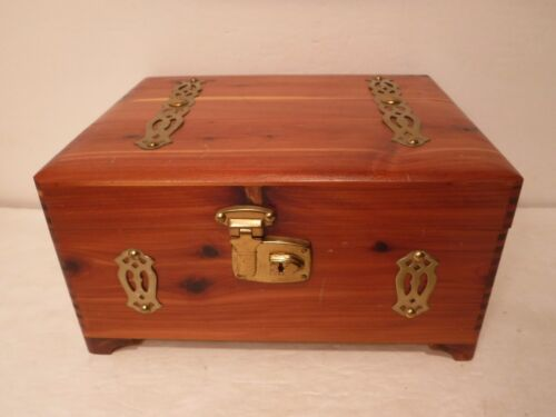 "Vintage Wood Box With Metal Hardware, Handles & Latch 10"" L x 8"" W Joint Corners"