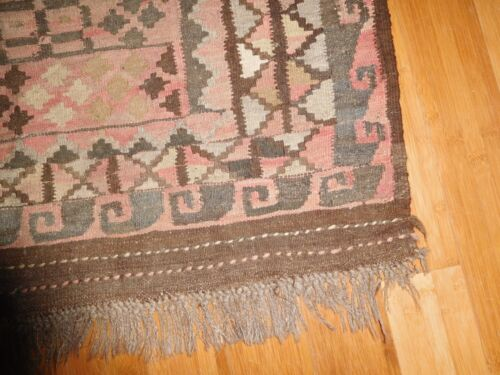 """VINTAGE PERSIAN HAND MADE RUG  BROWNS EARTH TONES approx 3' x 5' 39"""" x 56"""""""