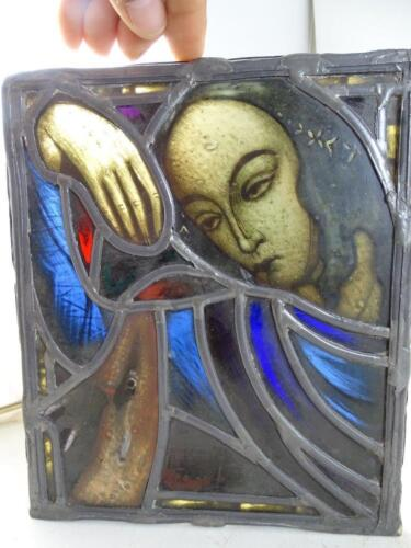 Antique Church Stained Glass Window 1800s Virgin Mary Deer Panel Leaded Vintage
