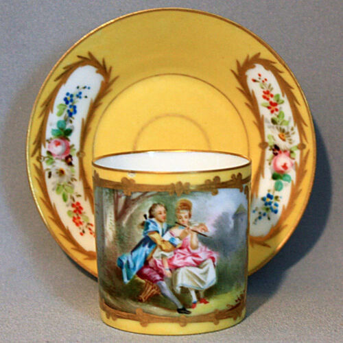 19th Century C. Antique DEMITASSE SEVRES CUP and SAUCER SET J E CALDWELL Cabinet