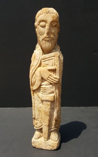 ANTIQUITY 11th CENTURY FRENCH ROMANESQUE SAINT PAUL LIMESTONE CARVING SCULPTURE