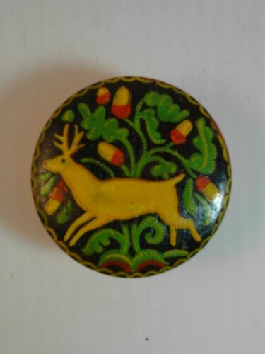 Antique-Vintage Little Hand Carved & Painted Wooden Trinket Box 1944