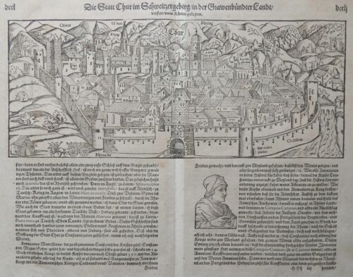 1580 S. MUNSTER - PETRI Original Woodcut antique view CHUR Grisons Switzerland