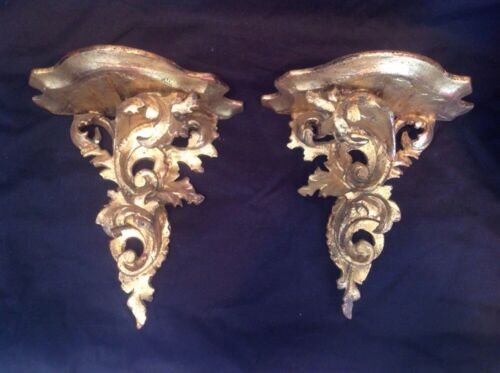 Antique Pair Carved Wood Gold Gilt Wall Shelf Sconces Italian Florentine Rococo