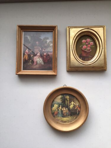 Vintage lot of 3 small gold frame pictures ladies and Gents Italy