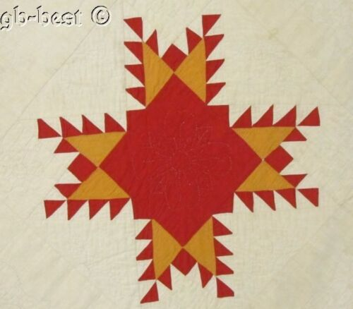 """Rare c 1880s Feather Star Antique QUILT Applique Border RED Cheddar 94"""" x 74"""""""