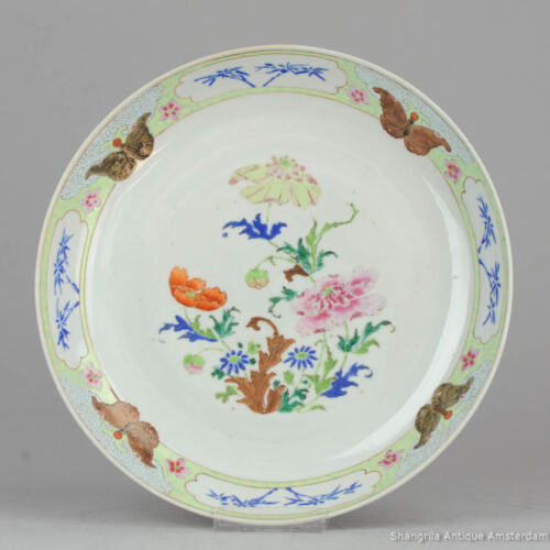 Antique 18C Chinese Porcelain China Yongzheng Plate Landscape Qing Famille Rose