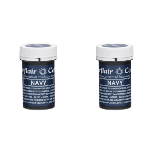2 x Sugarflair 25g Navy Spectral Paste Gel Edible Food Colour Cake Icing