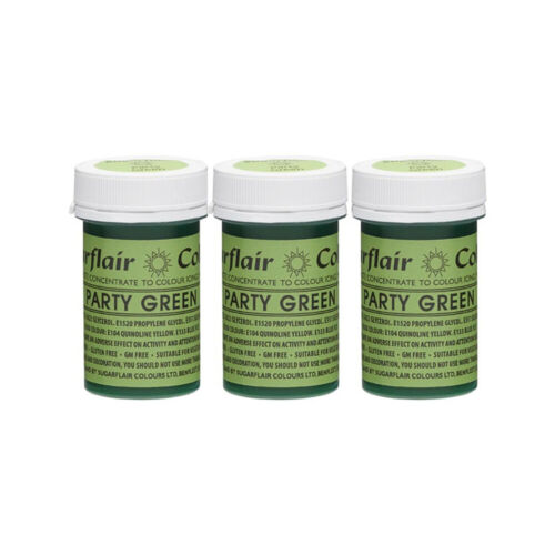 3 x Sugarflair 25g Party Green Spectral Paste Gel Edible Food Colour Cake Icing