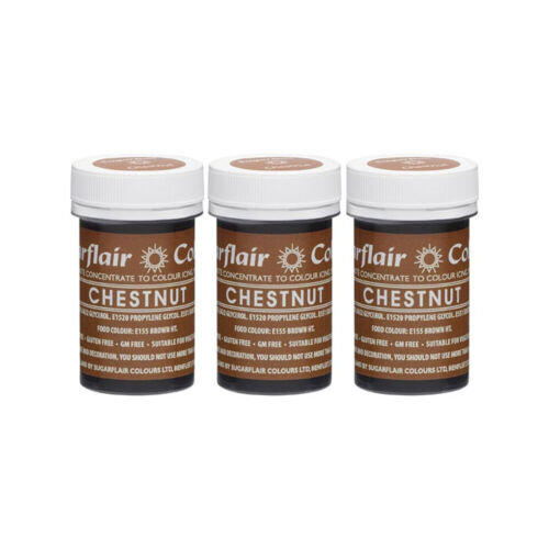 3 x Sugarflair 25g Chestnut Spectral Paste Gel Edible Food Colour Cake Icing