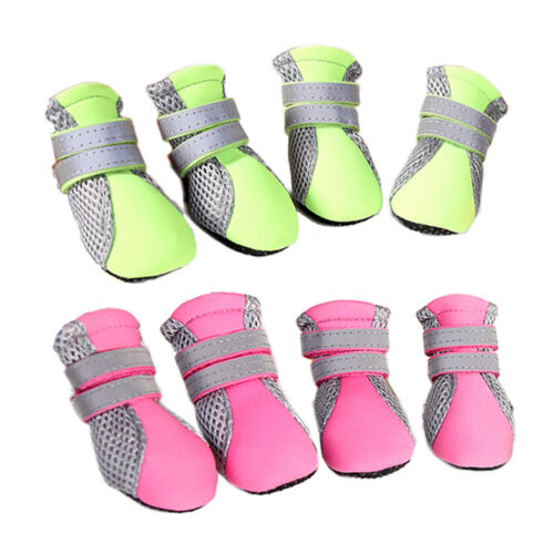 4PCS Pet Summer Mesh Shoes Dog Breathable Sandals Boots Puppy Protective Booties