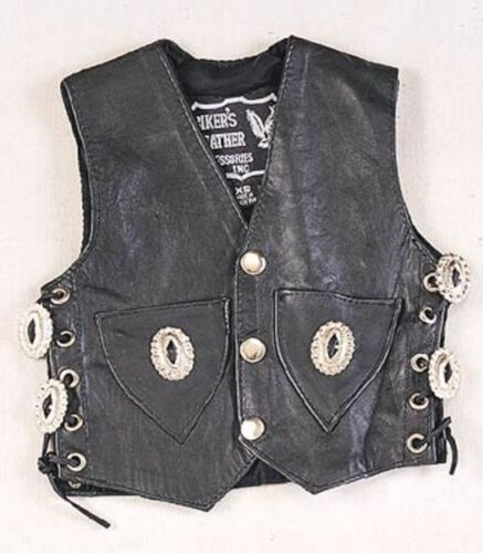 Baby Infant Black Leather Motorcycle Vest - XXS 6-9Months  Biker Conchos