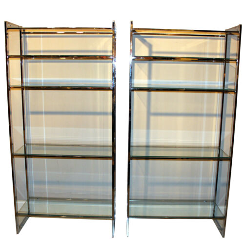 Pair Vintage Mid Century Chrome Metal Shelves Etagere Display Cabinet Case
