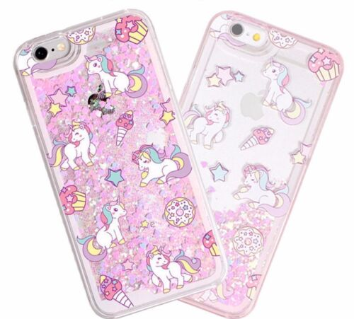 iPhone 5/6S/7+/8+PLUS - HARD CASE Waterfall PINK UNICORNS Liquid Glitter Hearts