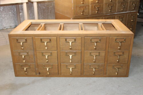 Vintage Mid Century 15 Drawer Wood Index Card Filing Cabinet - Industrial