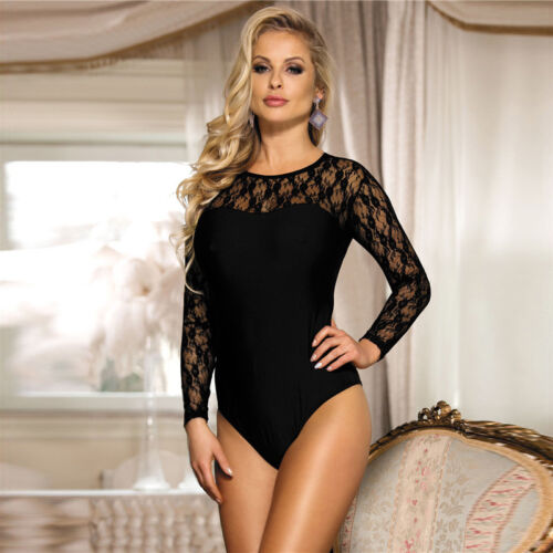 Teddy Bodysuit Woman's Sexy Floral Sheer Lace Black Long Sleeve Plus Size 8-22