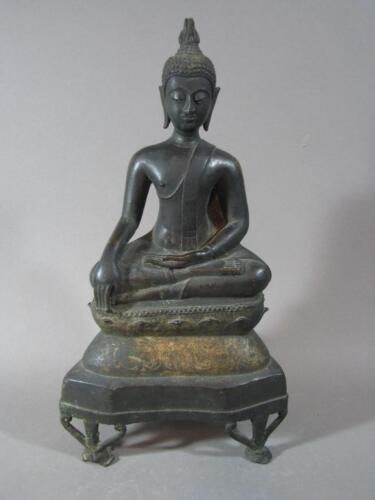 Nice Antique Thai Bronze Buddha 18TH Century Gilt