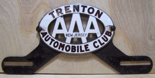 Old porcelain trenton automobile club license plate topper for Motor vehicle in trenton new jersey