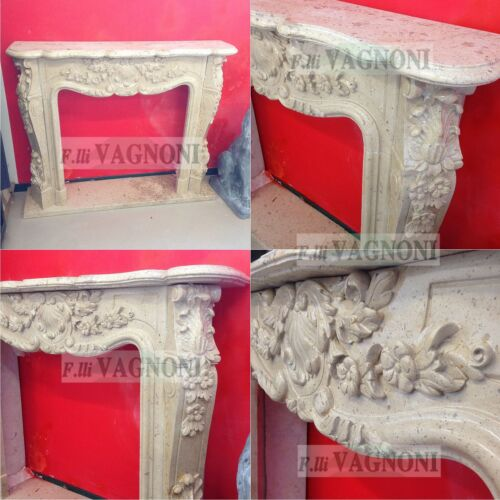 CAMINO CORNICE IN MARMO GIALLO cm135-150 MOD 23 Classic Stone Marble Fireplace