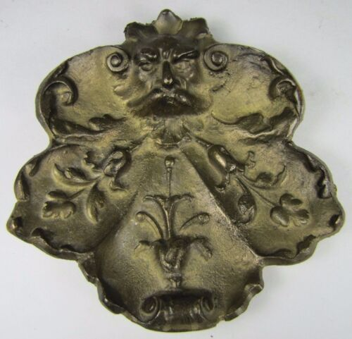 Old Thick Brass Pin Card Trinket Tray Scary Evil Mans Face Devil Scrollwork