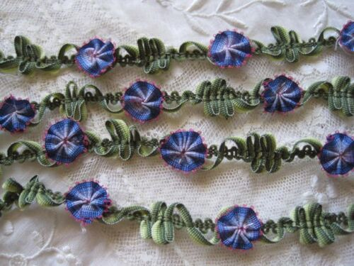 VINTAGE STYLE BLUE / PINK & GREEN OMBRE FRENCH ROCOCO FLOWER & LEAF TRIM  1 YD.