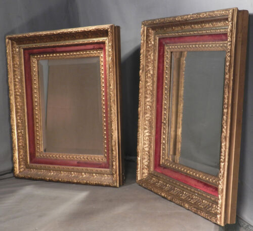 Pair Antique Eastlake Hudson River Lemon Gold Picture Frame 14x12 Mirror Velvet