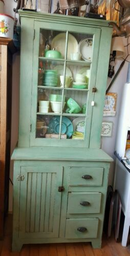 Primitive Antique Jelly Cabinet kitchen cupboard with original hardware & glass