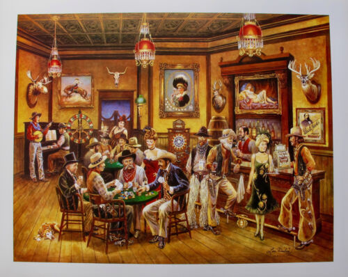 Lee Dubin WESTERN SALOON Hand Signed Limited Edition Art Lithograph