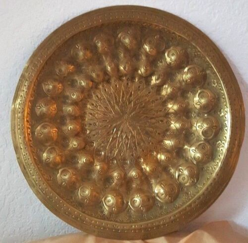 """Persian antique brass plate hand engraved 11.5"""" wide"""